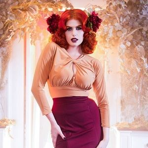 Pinup Couture Malia blouse in Gold